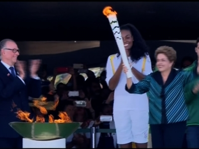 Raw: Brazil Ignites Olympic Torch