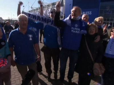 Fans of Leicester City Football Club were in high spirits after the team clinched an unlikely English Premier League title Monday night. Leicester's odds were originally set at 5,000-1. (May 3)