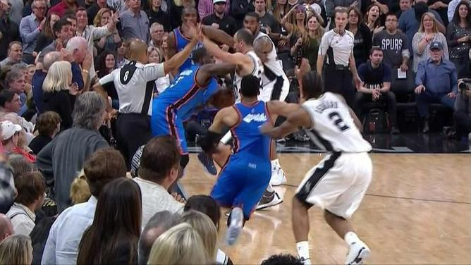 The NBA announced on Tuesday that referees missed five calls in the last 14 seconds of the Thunder's victory over the Spurs in Game 2.