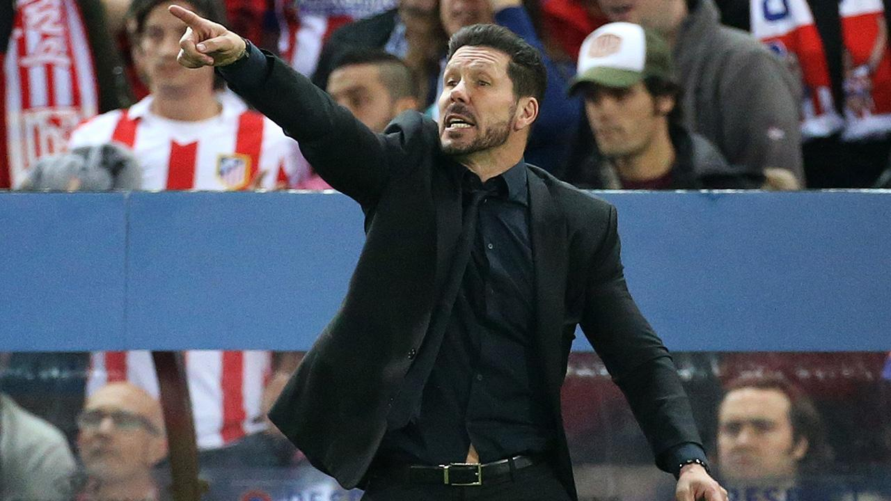 Diego Simeone got a little heated in Tuesday's match and shoved a team staffer.
