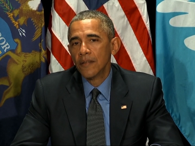 Obama drinks filtered Flint water in Michigan