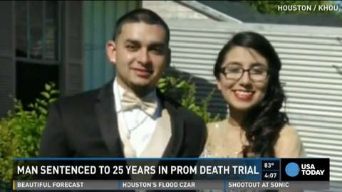 A Texas man who admitted to choking his 17-year-old prom date during rough sex in a hotel room has been sentenced to 25 years in prison. Jackie Gomez, 17, died after the 2014 prom. An autopsy found hydrocodone and alcohol in her system.