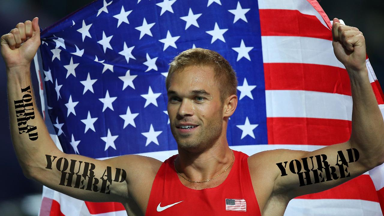 Olympic runner Nick Symmonds sold a nine inch space on his shoulder for $21,800 after 107 bids on eBay.