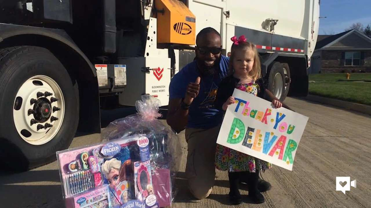 Garbage man surprises 3-year-old fan for birthday