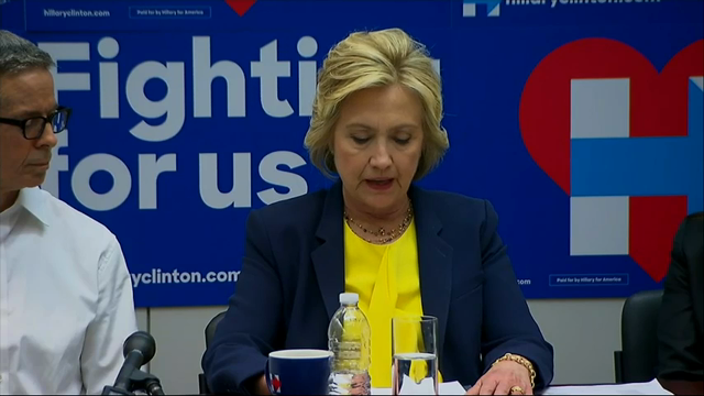 Clinton Talks With AIDS Activists in Brooklyn