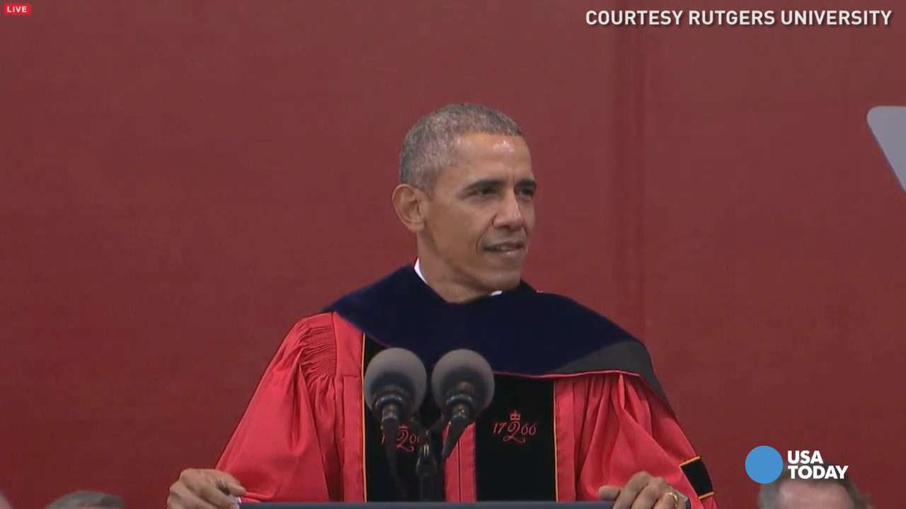 Obama jokes about grads vs. his generation