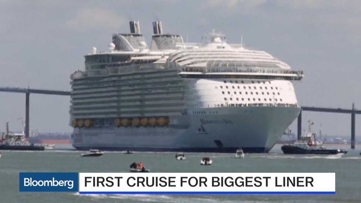 "May 16 -- The world's largest cruise ship, Harmony of the Seas, has set sail on its maiden voyage to the U.K. Bloomberg's Angie Lau reports on ""First Up."""