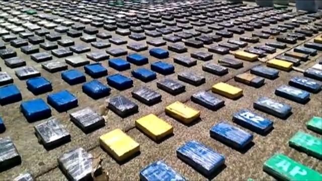 Colombian police have seized eight tons of cocaine from the country's main organized crime ring, the largest ever haul in the nation's history, the president said.Video provided by AFP