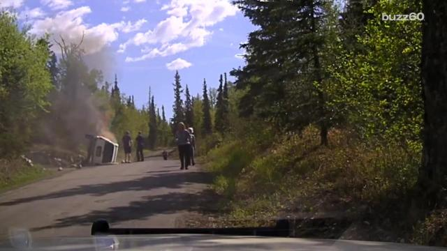 Dramatic Rescue Video of Man Trapped Inside Burning Vehicle