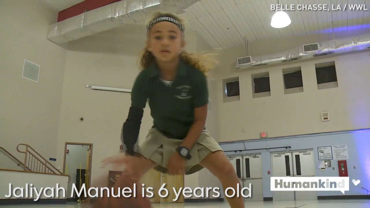 6-year-old's dribbling skills are a slam dunk