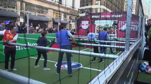 In an effort to promote MLS Rivalry Week, the league created a life-sized foosball table in the heart of Manhattan.