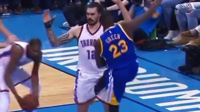 Warriors forward Draymond Green caused quite a stir when he received a flagrant foul for kicking Thunder center Steven Adams in the groin. But did he do it intentionally? We look at the tape.