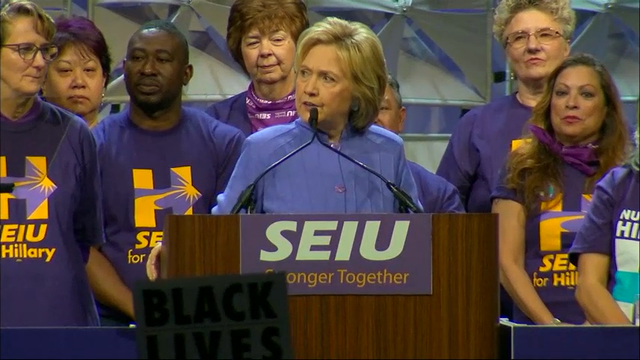 Democratic presidential candidate Hillary Clinton warned more than 3,000 union members of the potential economic consequences of a Donald Trump presidency while speaking at an event in Detroit on Monday. (May 23)