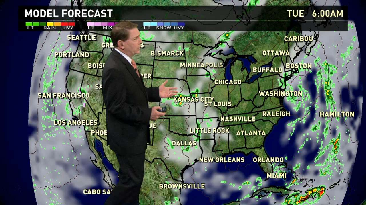 Tuesday's forecast: Rain across U.S. except for South