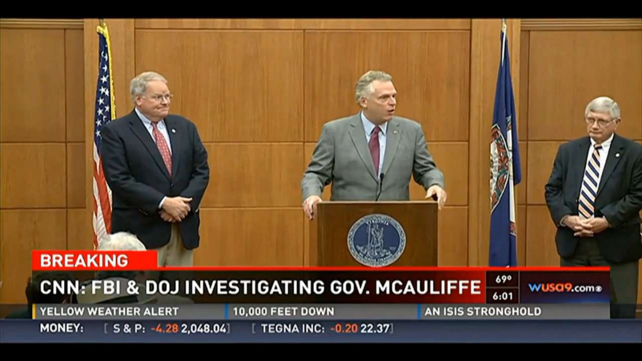 Virginia Governor Terry McAuliffe is the subject of an ongoing FBI and Department of Justice Investigation, according to reports.