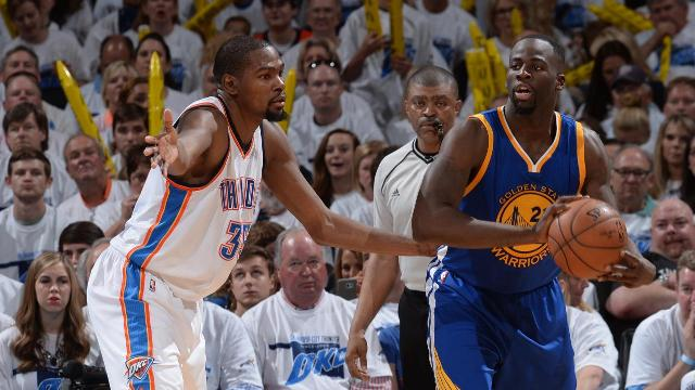 Kevin Durant told reporters Tuesday that he didn't think the NBA would suspend Warriors forward Draymond Green for his Game 3 kick to the groin of Thunder center Steven Adams.