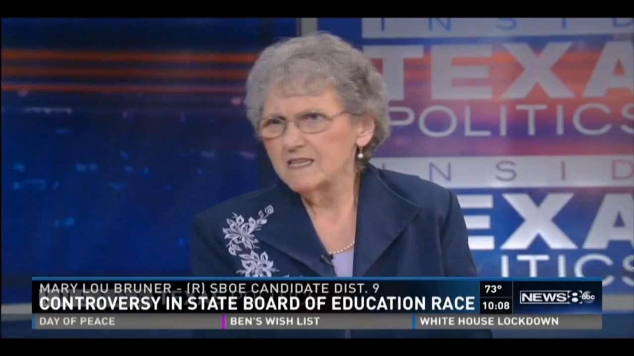 In a rare television appearance, Mary Lou Bruner explained controversial comments she has made, outlined policy and talked about the politics of her race for the state board of education that has made national news.