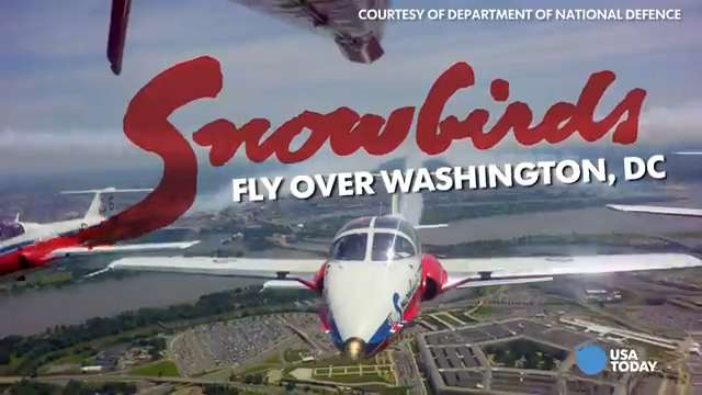 """The Canadian Forces 431 Air Demonstration Squadron, also known as the Snowbirds, flew over Washington, D.C. Tuesday for a """"friendship salute"""" to the U.S. It was also an early celebration of Canada's 150th anniversary, which takes place in 2017."""