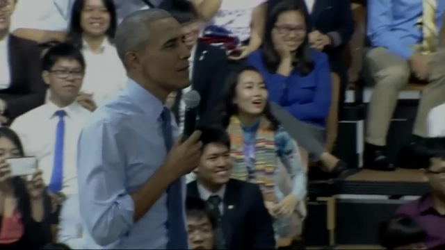 Suboi, a Vietnamese rapper, briefly rapped during President Obama's question-and-answer session with young people in Ho Chi Minh City. (May 25)