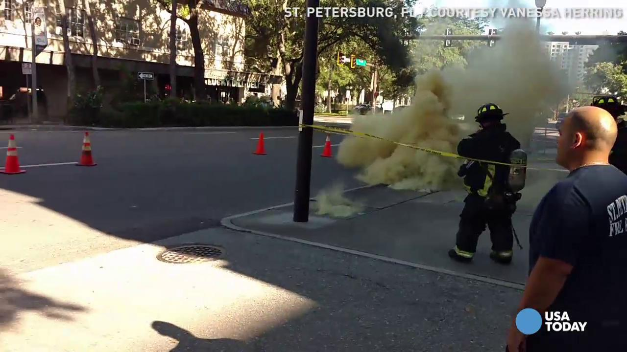 St. Petersburg, Florida firefighters blocked off traffic as a transformer caught on fire underneath a road. An onlooker captured this video just as the transformer exploded, sending flames and a manhole cover into the air. No one was hurt.