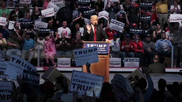 Donald Trump was holding a rally at the Albuquerque Convention Center on Tuesday night.Video provided by Newsy