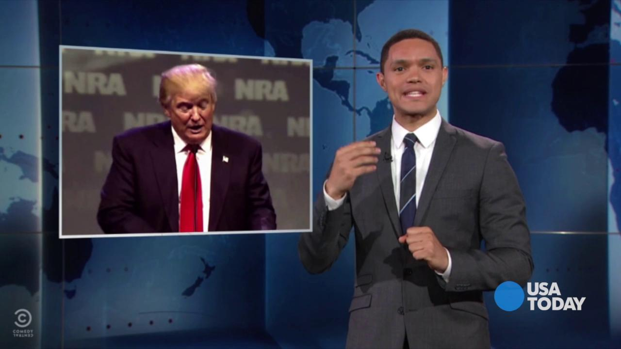 The late-night comics on candidate's decision to support the NRA in exchange for the group's endorsement. Take a look at our favorite jokes, then vote for yours at opinion.usatoday.com.
