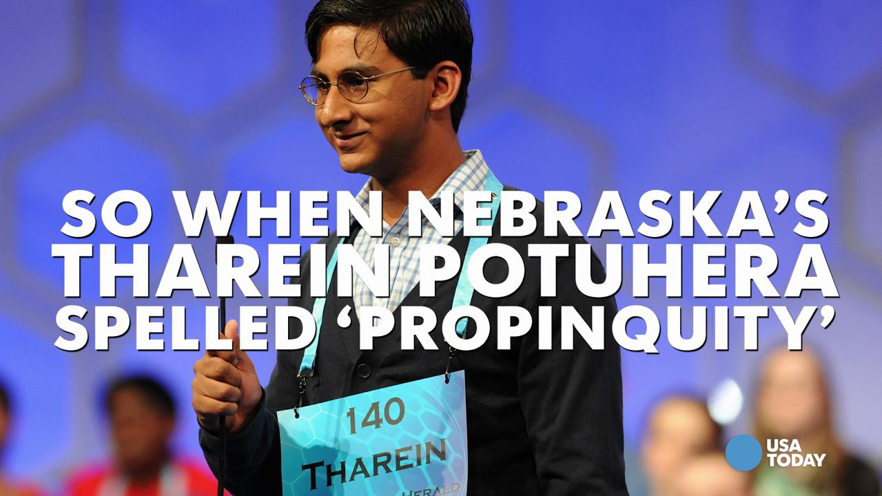When Nebraska's Tharein Potuhera correctly spelled the word 'propinquity' at the Scripps National Spelling Bee, he did what any of us would have done…he dabbed on em'.