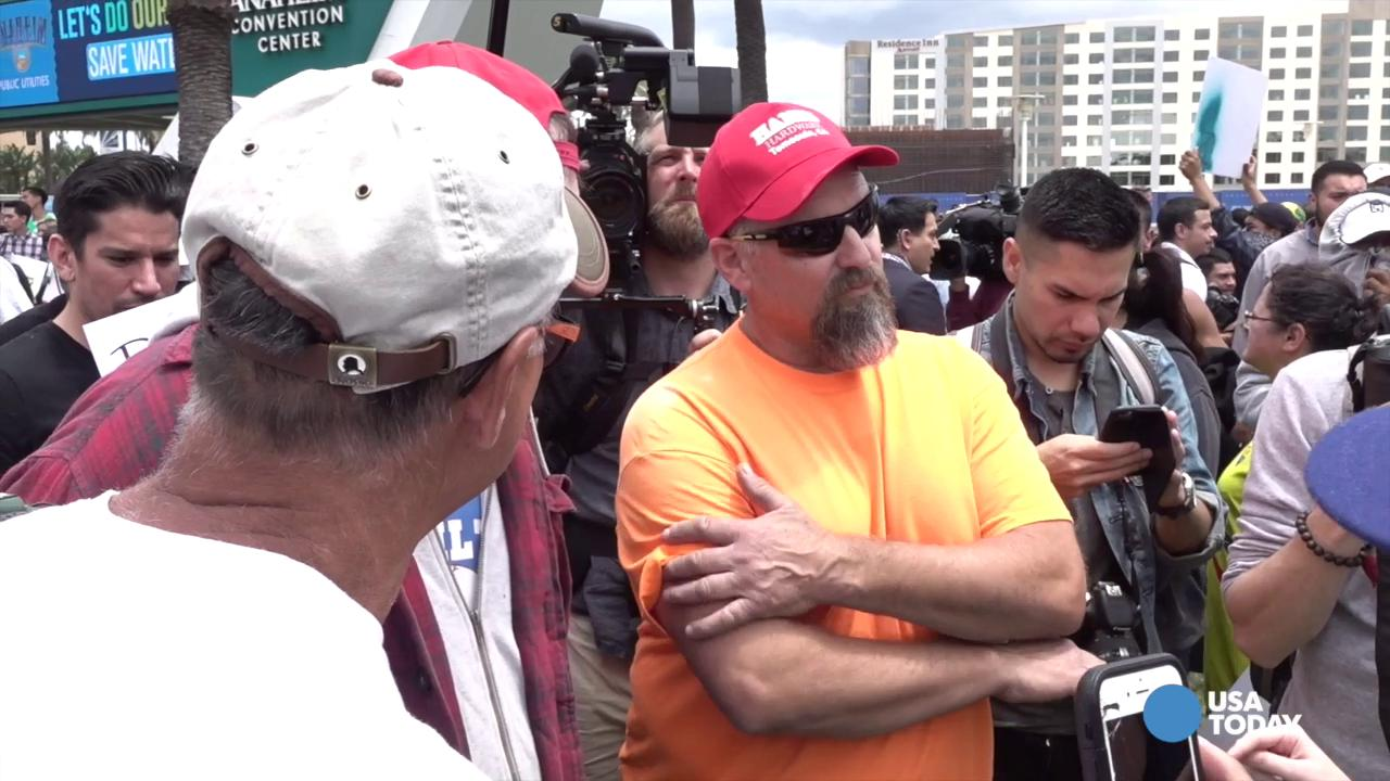 A rally for presidential candidate Donald Trump in Anaheim, California brought out protesters and lots of police Wednesday. Jefferson Graham reports.