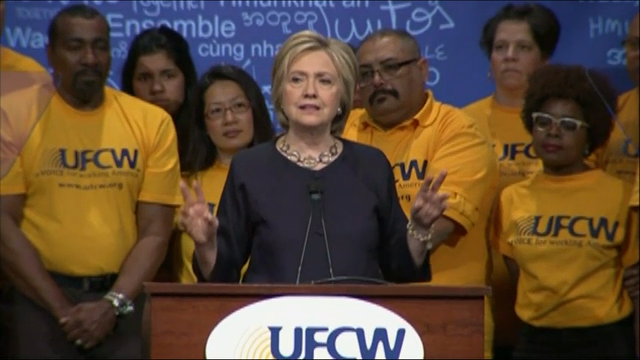 Presidential hopeful Hillary Clinton decries Donald Trump's deportation plan and his anti-union stance. Clinton told several hundred people at a United Food & Commercial Workers conference that it's time to unite against Trump's candidacy. (May 26)