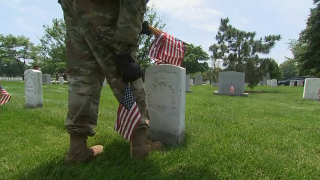 Soldiers are placing nearly a quarter of a million U.S. flags at Arlington National Cemetery as part of a Memorial Day tradition. The event Thursday is known as \u0022flags in\u0022 and marks the beginning of Memorial Day activities at the cemetery.