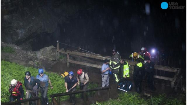 Nineteen people were rescued from the Hidden River Cave in Horse Cave, Kentucky after being trapped due to rising floodwaters.