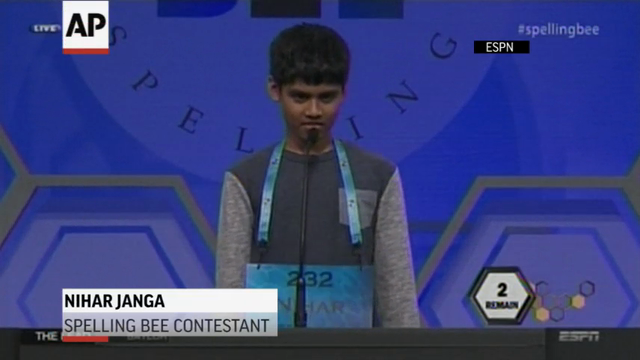 The Scripps National Spelling Bee ended in a tie for the third consecutive year Thursday night, with Jairam Hathwar and Nihar Janga declared co-champions after a roller-coaster finish. (May 27)