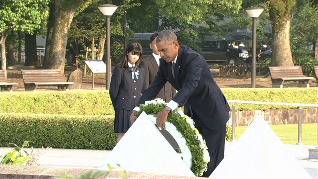 U.S. President Barack Obama hugs Shigeaki Mori, an atomic bomb survivor and a creator of the memorial for American WWII POWs killed in Hiroshima, during a ceremony at Hiroshima Peace Memorial Park in Hiroshima, western, Japan, Friday.