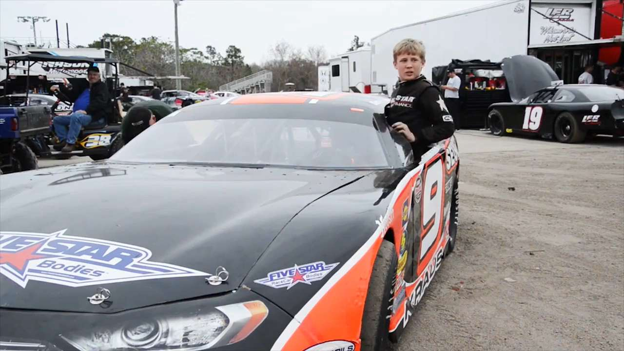 Derek Kraus is racing laps around the competition, and he's not even old enough for a driver's license. The 14-year-old NASCAR hopeful races super late model series cars, and has been competing against adults since he was 12.