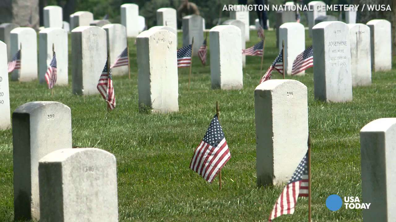 "Members of the 3rd U.S. Infantry Regiment place flags at each gravesite in Arlington National Cemetery and the U.S. Soldiers' and Airmen's Home National Cemetery ahead of Memorial Day. The annual tradition is called ""Flags In."""