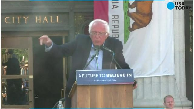 Protesters attempted to take over a Bernie Sanders rally in Oakland, Calif. on Tuesday, May 30.