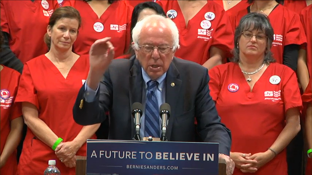 Democratic presidential candidate Sen. Bernie Sanders vowed to take on drug and insurance companies if elected president at a press conference in California on health care on Tuesday. (May 31)