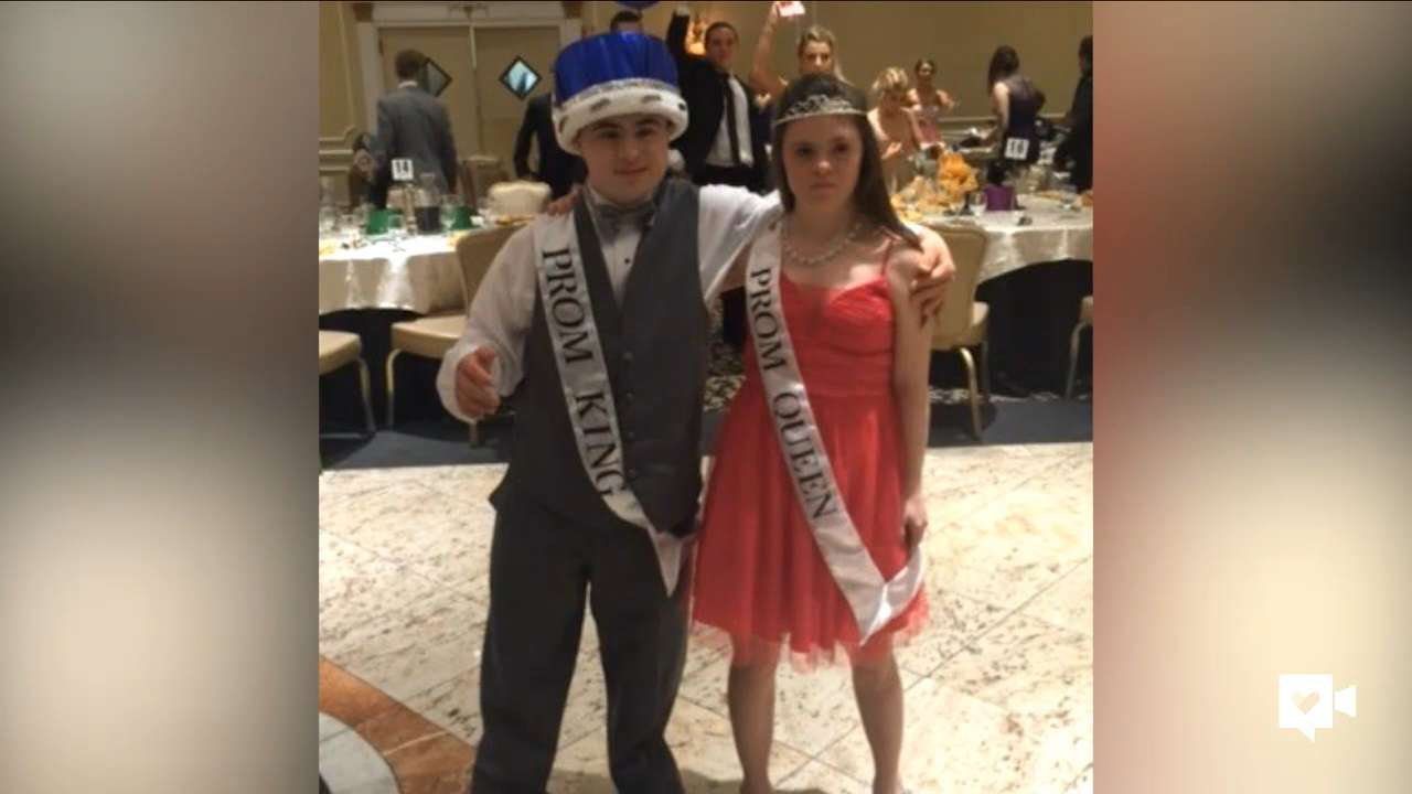 Sal and Meghan were chosen by their classmates to wear the crown and tiara as prom king and queen.