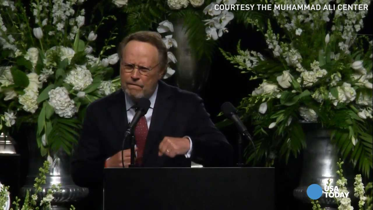 Billy Crystal channels Muhammad Ali at memorial service