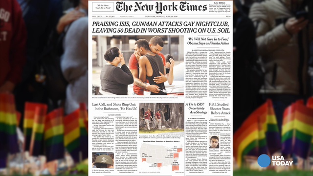 Front pages of newspapers around the world chronicle the tragedy of the shooting at the Orlando night club.