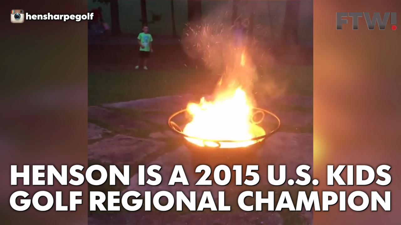 7-year-old Benson Sharpe hits a flaming golf ball into a pit of fireworks.