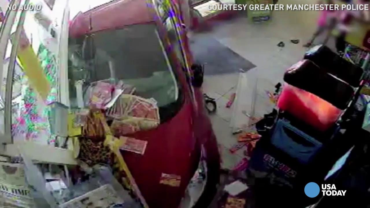 Miraculously, 6-year-old boy is safe after a drunk driver smashed through a candy shop window. In graphic surveillance video, you can see the boys family frantically picking him up. The driver has been disqualified from driving for 3 years.