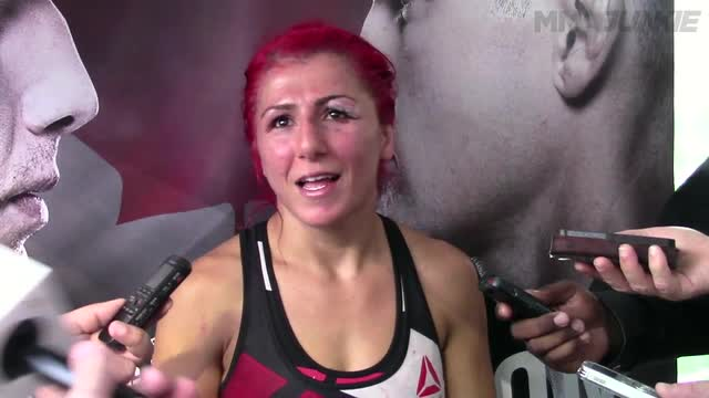 Randa Markos post-fight media scrum at UFC Fight Night 89
