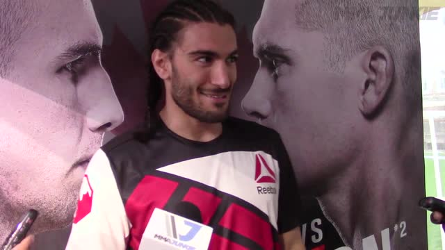 Elias Theodorou post-fight media scrum at UFC Fight Night 89