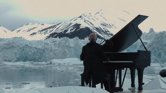 An internationally renowned Italian pianist performed his composition on platform floating on the Arctic Ocean for a Greenpeace campaign to protect the area.