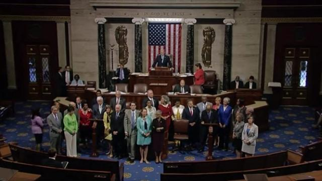 Rep. John Lewis is leading his colleagues in the sit-in, which began Wednesday on the House floor.Video provided by Newsy
