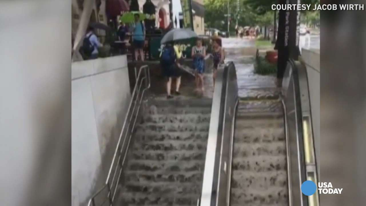 Metro station turns into waterfall from flash flooding