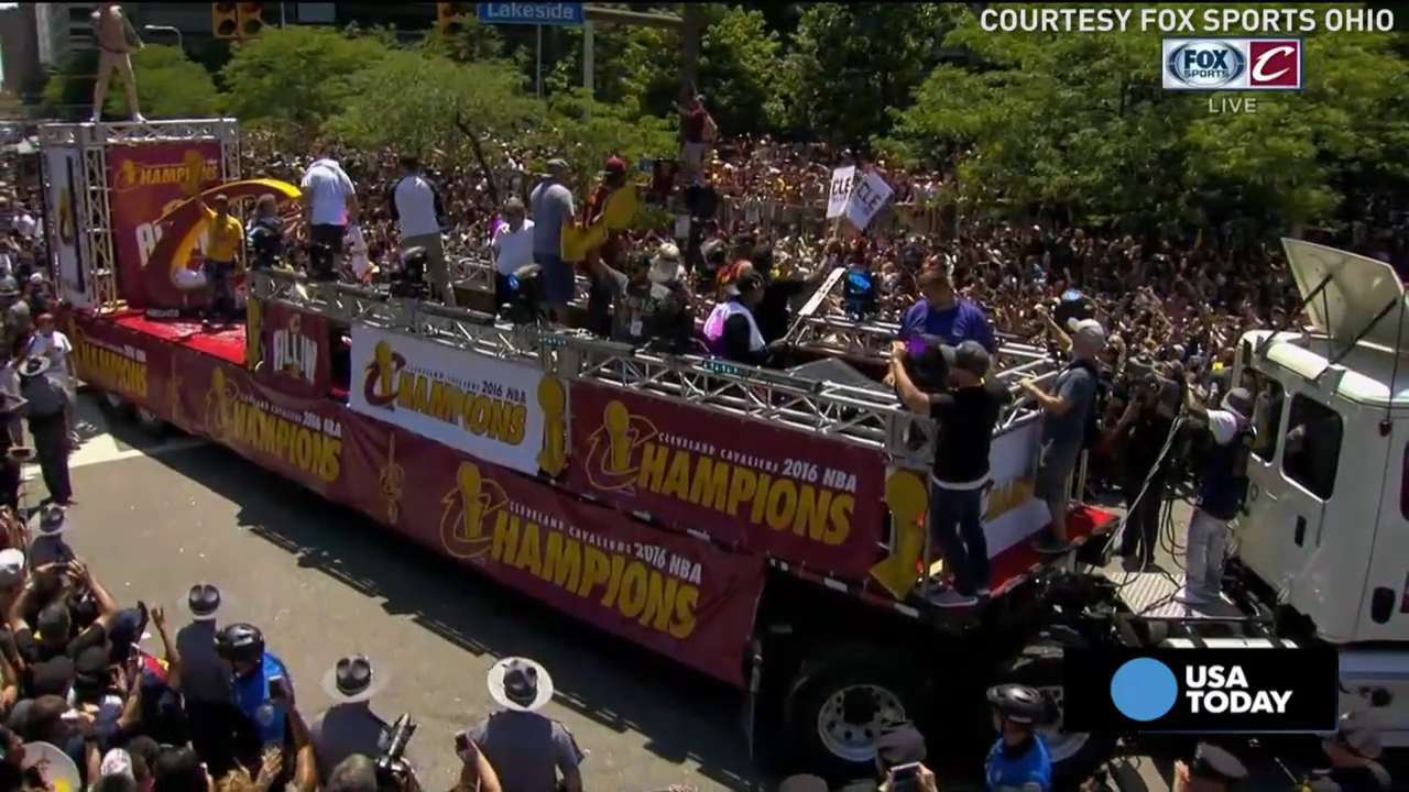 Relive the best moments from the Cavaliers' NBA championship title parade. It's the team's first championship in 52 years.