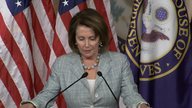 Appearing in front of media after an all night sit in Thursday, House Minority Leader Nancy Pelosi said they will keep up the fight until a bill is passed on gun legislation. (June 23)