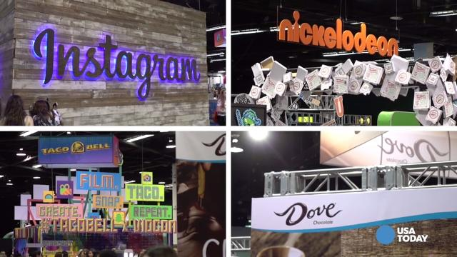 From Snickers and SweeTarts to Netflix and Instagram, huge brands go to the VidCon convention near Anaheim to try and connect with the elusive millennial demographic. Jefferson Graham reports.